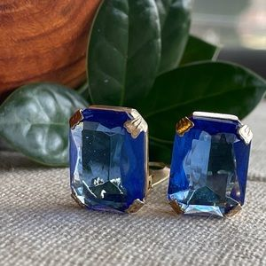 Vtg Sapphire Blue Glass Rhinestone Clip Earrings